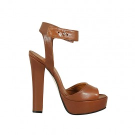 Woman's platform sandal with strap in brown leather heel 13 - Available sizes:  33, 34, 42, 43, 44, 45