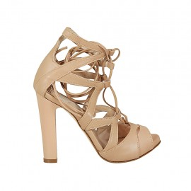 Woman's open shoe with platform and laces in beige leather heel 11 - Available sizes:  32, 33, 34, 43, 44, 45, 46