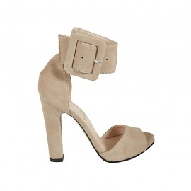 Woman's open shoe with ankle buckle and platform in beige suede heel 11 - Available sizes:  33, 34, 43, 45