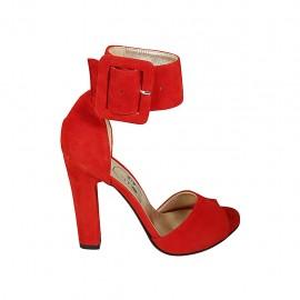 Offener Damenschuh mit Knöchelschnalle und Plateau aus rotem Wildleder Absatz 11 - Verfügbare Größen:  33, 34, 43, 45
