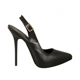Woman's slingback pump with inner platform in black leather heel 12 - Available sizes:  33, 42, 43