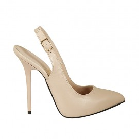 Woman's slingback pump with inner platform in nude leather heel 12 - Available sizes:  43, 45, 46