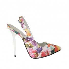 Woman's slingback pump with inner platform in multicolored floreal fabric heel 12 - Available sizes:  31, 33, 34, 43, 44, 45, 46