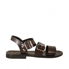 Sandalia para hombres con hebillas en piel marron oscuro - Tallas disponibles:  36, 37, 38, 46, 47, 48, 49
