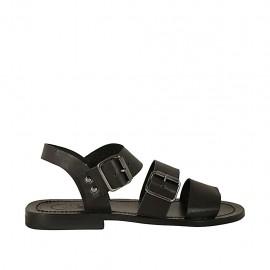 Sandalia para hombres con hebillas en piel negra - Tallas disponibles:  36, 37, 38, 47, 48