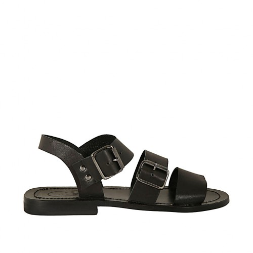 Men's sandal with buckles in black leather  - Available sizes:  36, 37, 38, 47, 48