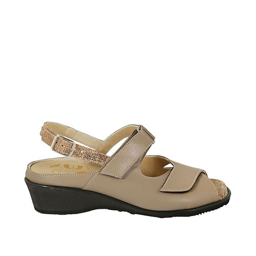 Bronze En Femmes Lamé Taupe Tissu Cuir Imprimé Pour 4 Et Semelle Sandale Avec Velcro Amovible Talon qGzMLSUVp