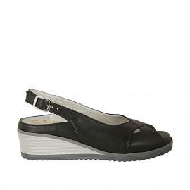 Sandale pour femmes avec semelle interieur amovible en cuir noir talon compensé 4 - Pointures disponibles:  31, 33, 34, 42, 43