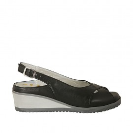 Woman's sandal with removable insole in black leather wedge heel 4 - Available sizes:  31, 32, 33, 34, 42, 43, 44