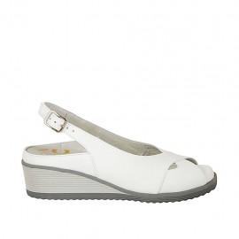 Sandale pour femmes avec semelle interieur amovible en cuir blanc talon compensé 4 - Pointures disponibles:  31, 32, 33, 34, 42, 43, 44