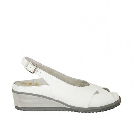 Woman's sandal with removable insole in white leather wedge heel 4 - Available sizes:  31, 32, 33, 34, 42, 43, 44