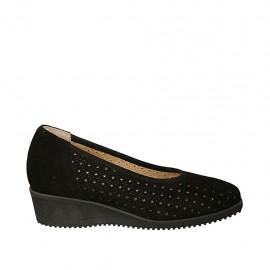 Zapato de salon para mujer con plantilla extraible en gamuza y gamuza perforada negra cuña 4 - Tallas disponibles:  32, 45