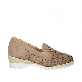 Zapato con elasticos y plantilla extraible para mujer en gamuza y gamuza perforada gris pardo tacon 4 - Tallas disponibles:  42, 44