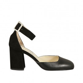 Woman's open shoe with ankle strap in black leather and suede block heel 7 - Available sizes:  32, 33, 45