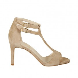 Woman's open shoe with straps and elastic band in beige suede heel 8 - Available sizes:  42, 43, 45