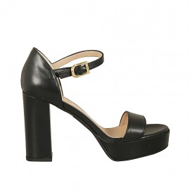 Woman's open strap shoe in black leather with platform and heel 9 - Available sizes:  33, 34, 42, 43, 45