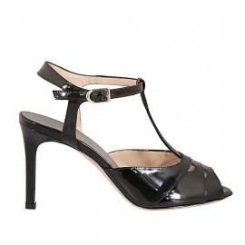 Sandalia para mujer en charol negro con cinturon tacon 8 - Tallas disponibles:  31, 32, 33, 34, 42, 43, 44, 45