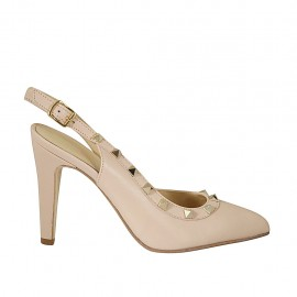 Woman's slingback pump with studs in nude leather heel 9 - Available sizes:  34, 45