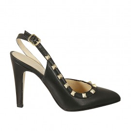 Woman's slingback pump with studs in black leather heel 9 - Available sizes:  32, 33, 34, 43