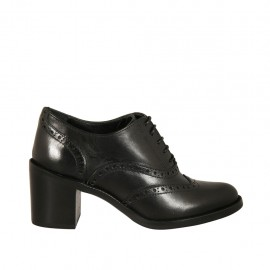 Woman's laced Oxford shoe in black leather heel 6 - Available sizes:  33, 34, 42, 43