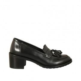 Mocassin pour femmes avec glands en cuir noir talon 5 - Pointures disponibles:  32, 33, 43