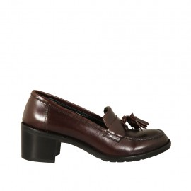 Woman's loafer with tassels in dark brown leather heel 5 - Available sizes:  33, 34, 42, 43