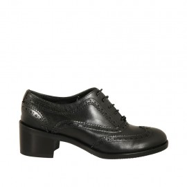 Woman's laced Oxford shoe in black leather heel 5 - Available sizes:  32, 33, 34, 42, 43, 44, 45