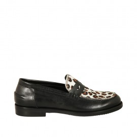 Woman's mocassin in black leather and leopard horse heel 2 - Available sizes:  33, 34, 42, 43, 44