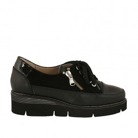 Woman's laced shoe with zipper in black leather, suede and patent leather wedge heel 4 - Available sizes:  33, 34, 42, 43, 44, 46