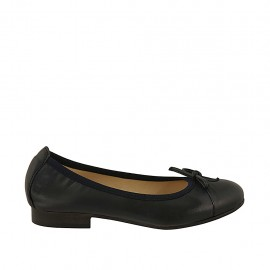 Woman's ballerina shoe with bow and captoe in blue leather heel 2 - Available sizes:  33, 34, 43, 44
