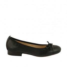Woman's ballerina shoe with bow and captoe in black leather heel 2 - Available sizes:  33, 34, 43, 44, 45
