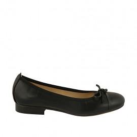 Zapato bailarina para mujer con moño y puntera en piel negra tacon 2 - Tallas disponibles:  33, 44