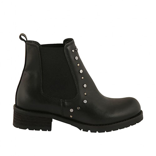Woman's ankle boot with elastic bands and studs in black leather heel 3 - Available sizes:  32, 33, 34, 42, 43, 44, 45