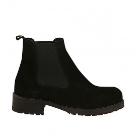 Woman's ankle boot with elastic bands in black suede heel 3 - Available sizes:  32, 33, 34, 43, 45