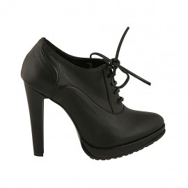 Zapato para mujer en piel negra con cordones y plataforma tacon 11 - Tallas disponibles:  31, 32, 34, 42
