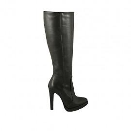 Bota para mujer con cremallera y plataforma en piel negra tacon 11 - Tallas disponibles:  32, 33, 42