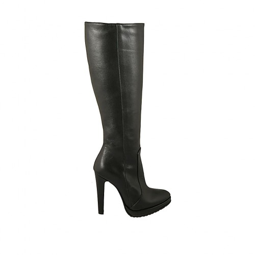 Woman's boot in black leather with zipper and platform heel 11 - Available sizes:  32