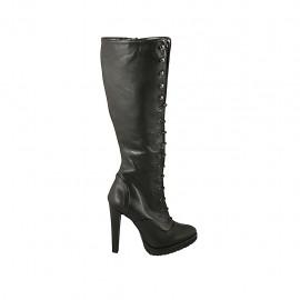Botas con cordones, cremallera y plataforma para mujer en piel negra tacon 11 - Tallas disponibles:  31, 32, 33, 34, 42, 43
