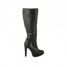 Woman's laced boot in black leather with zipper and platform heel 11 - Available sizes:  31, 32, 33, 34, 42, 43, 45