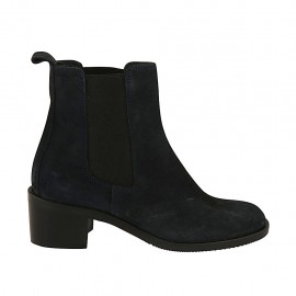 Woman's ankle boot with elastic bands in blue suede heel 5 - Available sizes:  34, 42, 43