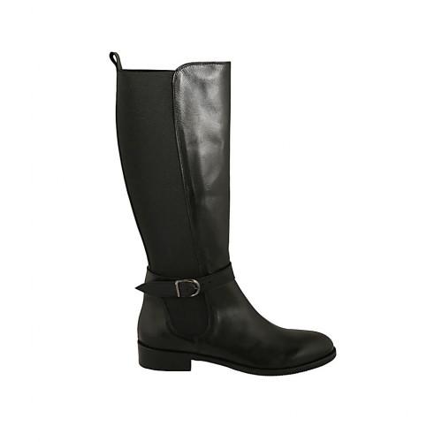 selezione migliore 2542f 5b2bb Stivale da donna con elastico fasciante e fibbia in pelle nera tacco 3