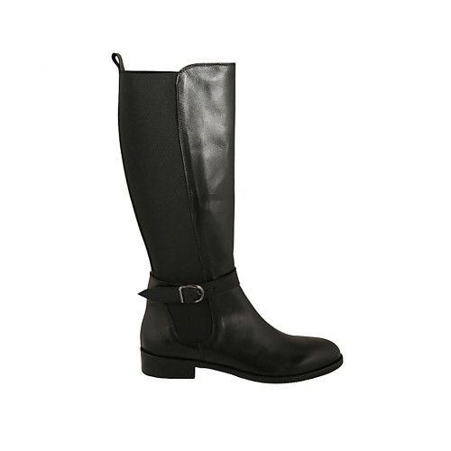 Woman's boot with backside elastic band and buckle in black leather heel 3 - Available sizes:  33, 34, 44