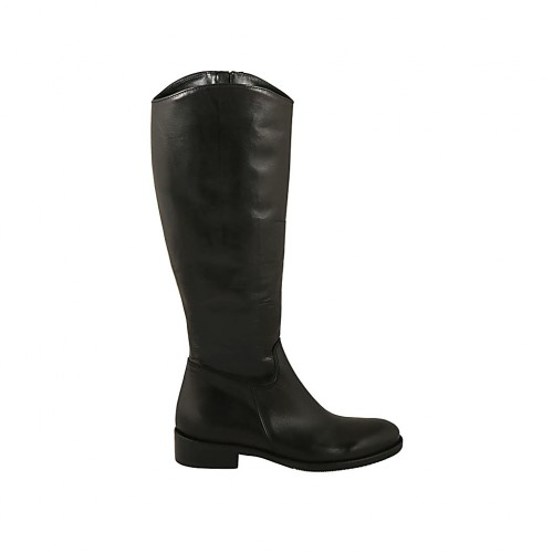 Woman's smooth boot with inner zipper in black leather heel 3 - Available sizes:  46