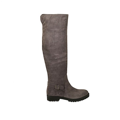 Woman's high boot with buckle and zipper in taupe suede heel 3 - Available sizes:  34, 42, 43, 44, 45