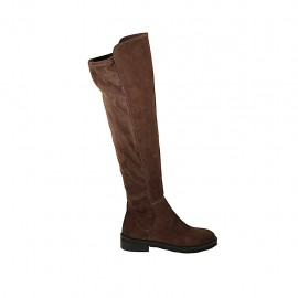 Woman's high boot in brown suede and elastic material heel 3 - Available sizes:  33, 34, 42, 43, 44, 45, 46, 47