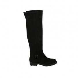 Botas altas para mujer con hebilla y cremallera en gamuza negra tacon 3 - Tallas disponibles:  33, 34, 42, 43, 44, 45