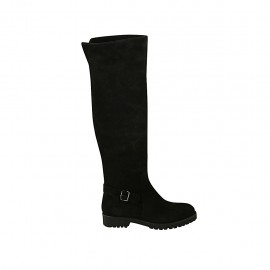 Woman's high boot with buckle and zipper in black suede heel 3 - Available sizes:  33, 34, 42, 43, 44, 45, 46, 47