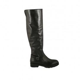 Bottes haute pour femmes avec boucle et fermeture eclair en cuir noir talon 3 - Pointures disponibles:  33, 34, 42, 43, 44, 45, 46, 47