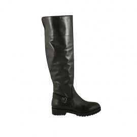 Woman's high boot with buckle and zipper in black leather heel 3 - Available sizes:  33, 34, 42, 43