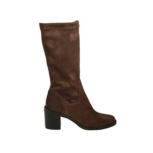 Botas de media caña para mujer en gamuza y material elastico marron con tacon 6 - Tallas disponibles:  34, 42, 43, 44, 46